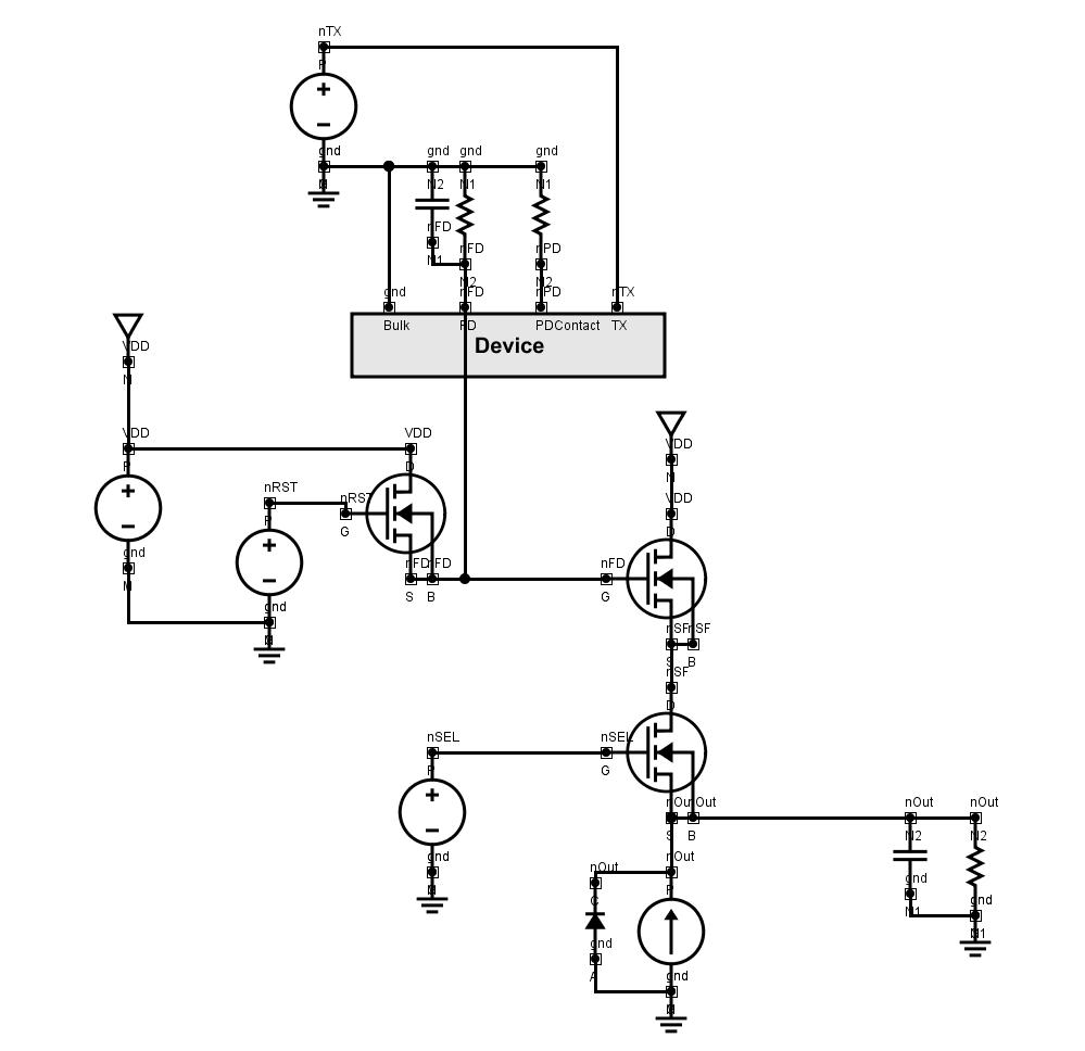 Schematics: CMOS Image Sensor (CIS) using BSIM compact model of the readout circuit
